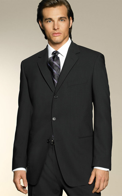 bccab2e17 HUGO BOSS Three Button Black Suit